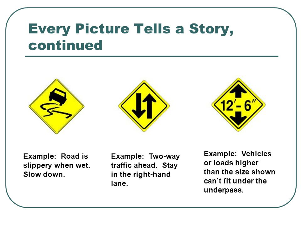 Every Picture Tells a Story, continued Example: Road is slippery when wet. Slow down. Example: Two-way traffic ahead. Stay in the right-hand lane. Exa