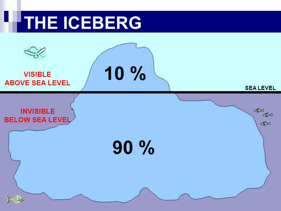THE ICEBERG SEA LEVEL 10 % 90 % VISIBLE ABOVE SEA LEVEL INVISIBLE BELOW SEA LEVEL