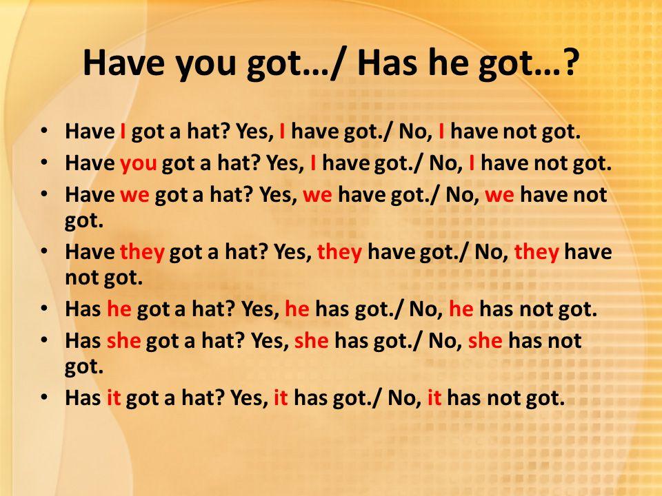 Have you got…/ Has he got…? Have I got a hat? Yes, I have got./ No, I have not got. Have you got a hat? Yes, I have got./ No, I have not got. Have we