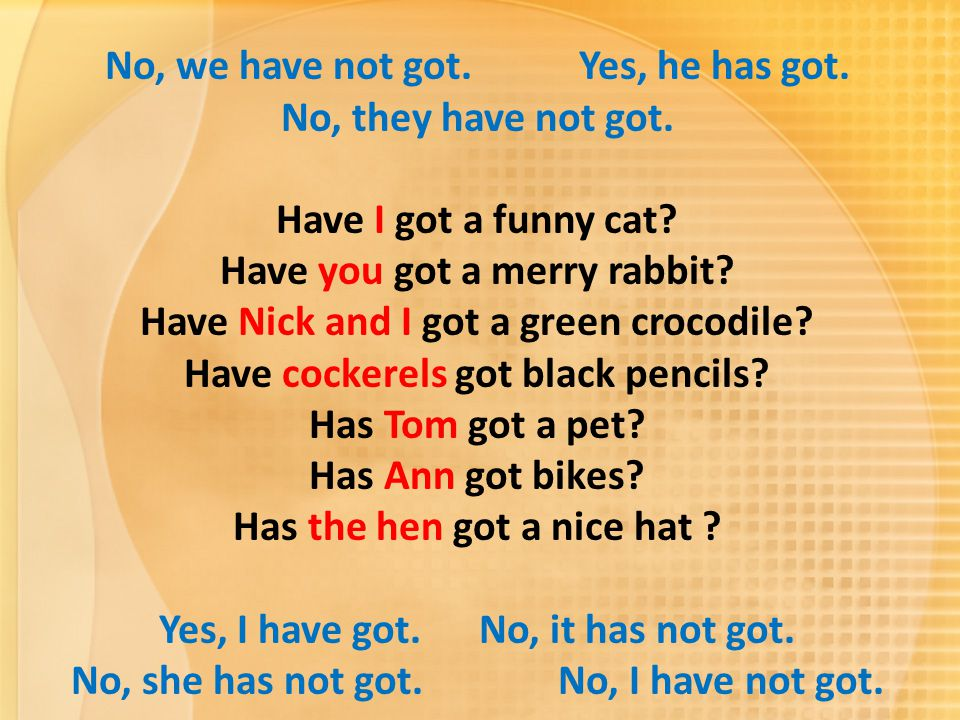 No, we have not got. Yes, he has got. No, they have not got. Have I got a funny cat? Have you got a merry rabbit? Have Nick and I got a green crocodil