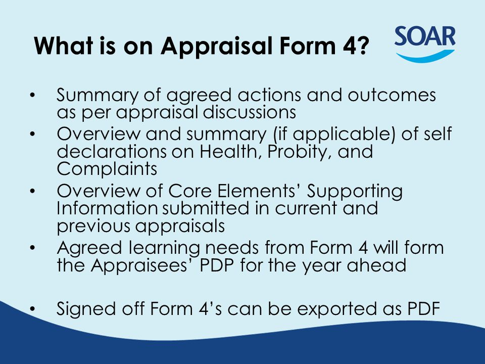 What is on Appraisal Form 4.