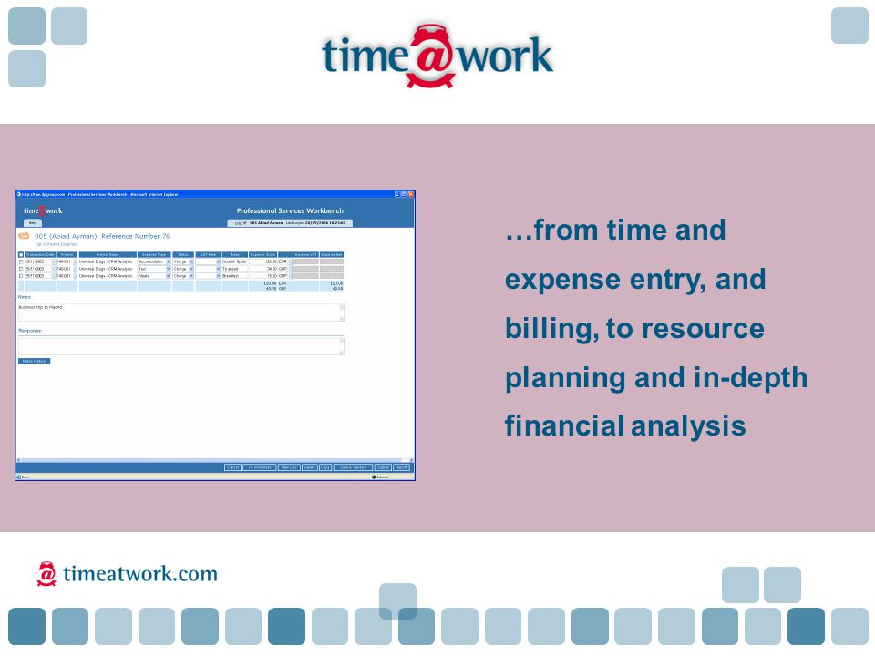 …from time and expense entry, and billing, to resource planning and in-depth financial analysis