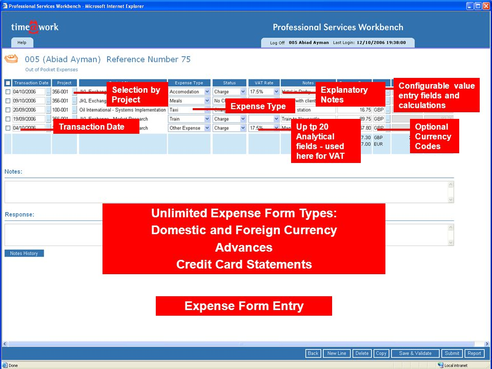 Expense Form Entry Selection by Project Transaction Date Expense Type Up tp 20 Analytical fields - used here for VAT Configurable value entry fields and calculations Optional Currency Codes Explanatory Notes Unlimited Expense Form Types: Domestic and Foreign Currency Advances Credit Card Statements