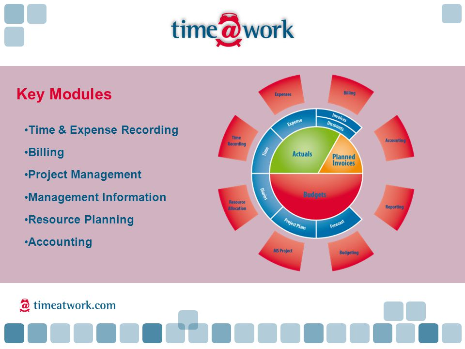 Key Modules Time & Expense Recording Billing Project Management Management Information Resource Planning Accounting