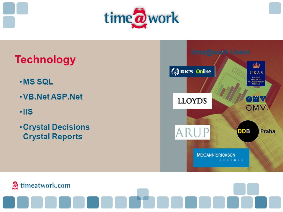MS SQL VB.Net ASP.Net IIS Crystal Decisions Crystal Reports Technology time@work Users