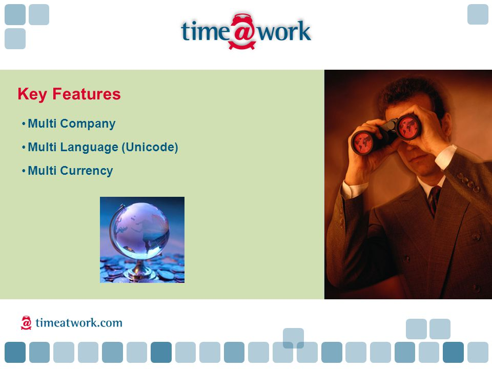 Key Features Multi Company Multi Language (Unicode) Multi Currency time@work Users