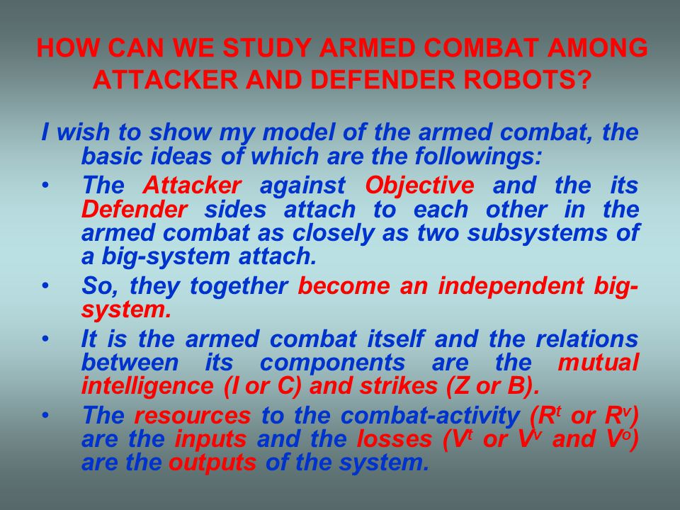 PARAMETERS OF THE SIMPLIFIED MODEL OF THE ARMED COMBAT SYSTEM β k - potential average loss factor ε - potential speed-rate of inducing of loss e - potential rate of resources E - potential rate of power