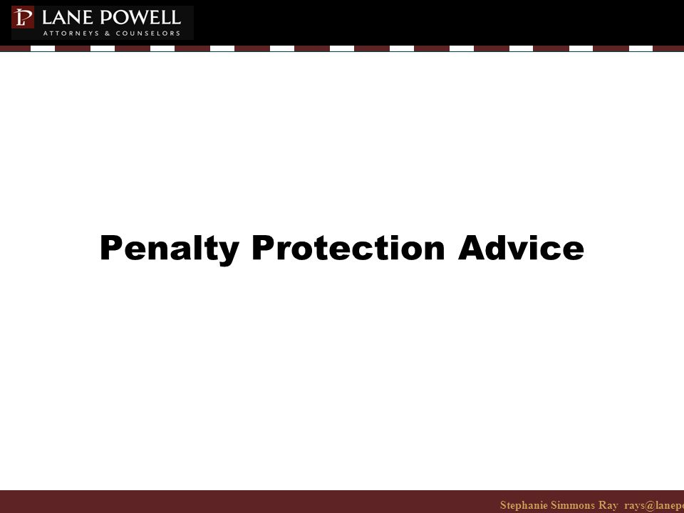 Stephanie Simmons Ray rays@lanepowell.com 206-223-7401© 2008 Lane Powell PC Penalty Protection Advice