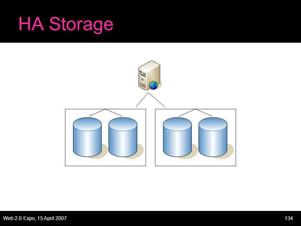 Web 2.0 Expo, 15 April 2007134 HA Storage