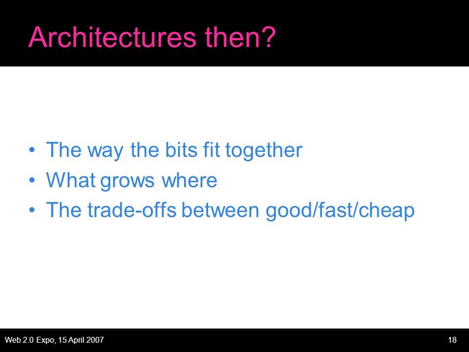 Web 2.0 Expo, 15 April 200718 Architectures then.