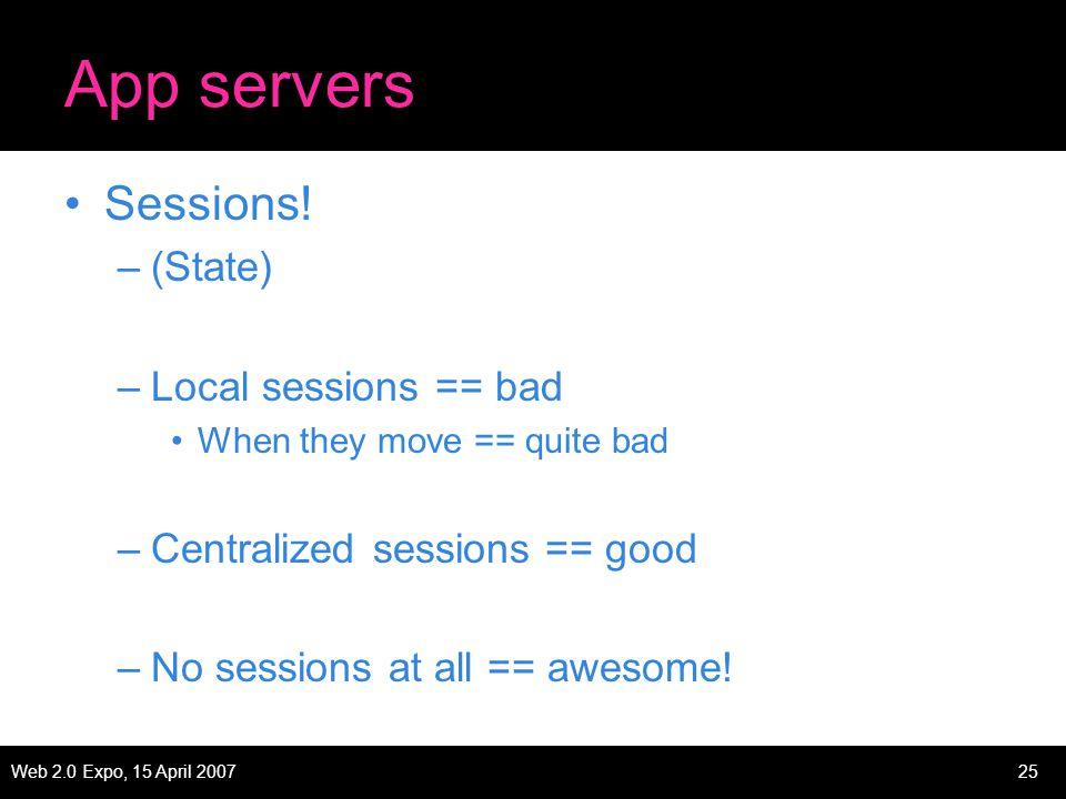 Web 2.0 Expo, 15 April 200725 App servers Sessions.