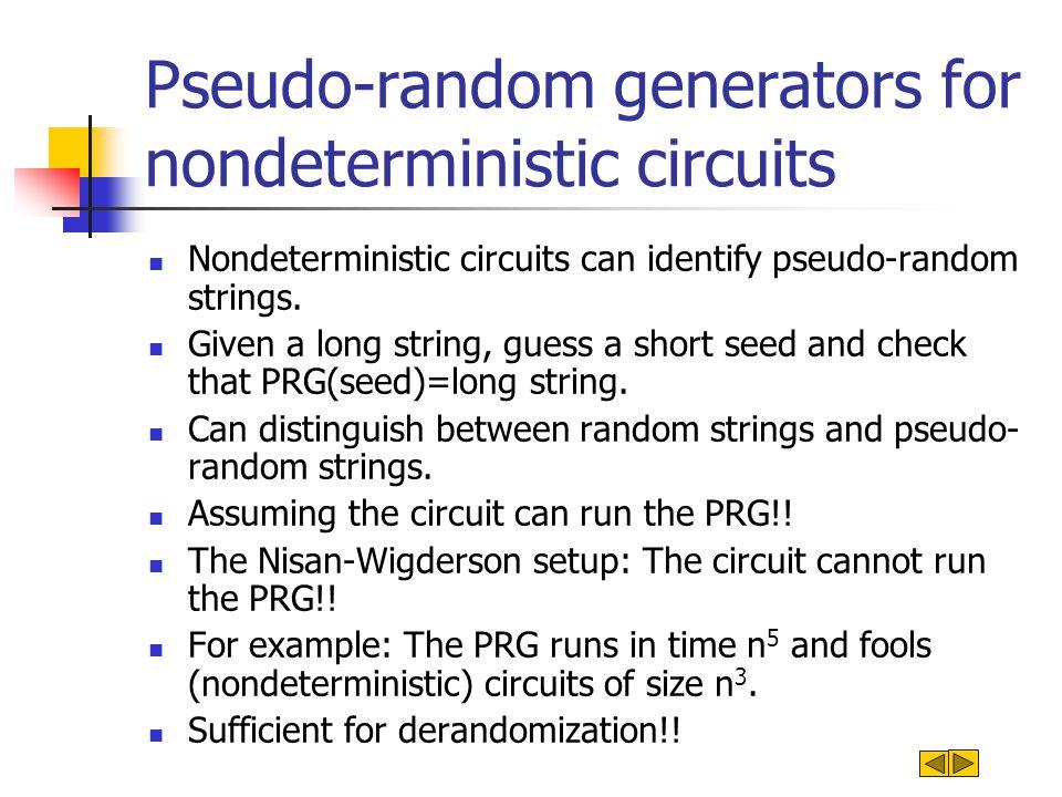 Pseudo-random generators for nondeterministic circuits Nondeterministic circuits can identify pseudo-random strings.