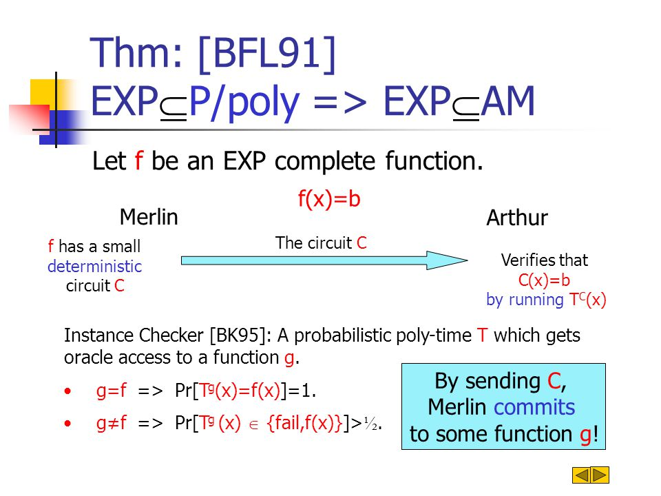 Thm: [BFL91] EXP  P/poly => EXP  AM Let f be an EXP complete function.
