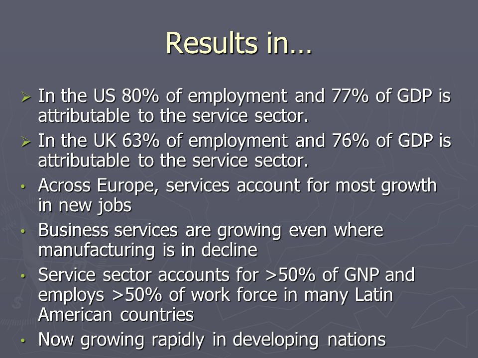 Results in…  In the US 80% of employment and 77% of GDP is attributable to the service sector.  In the UK 63% of employment and 76% of GDP is attrib