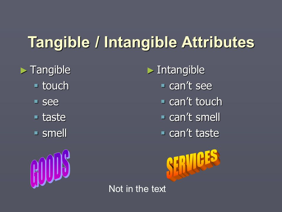 ► Tangible  touch  see  taste  smell ► Intangible  can't see  can't touch  can't smell  can't taste Tangible / Intangible Attributes Not in the text