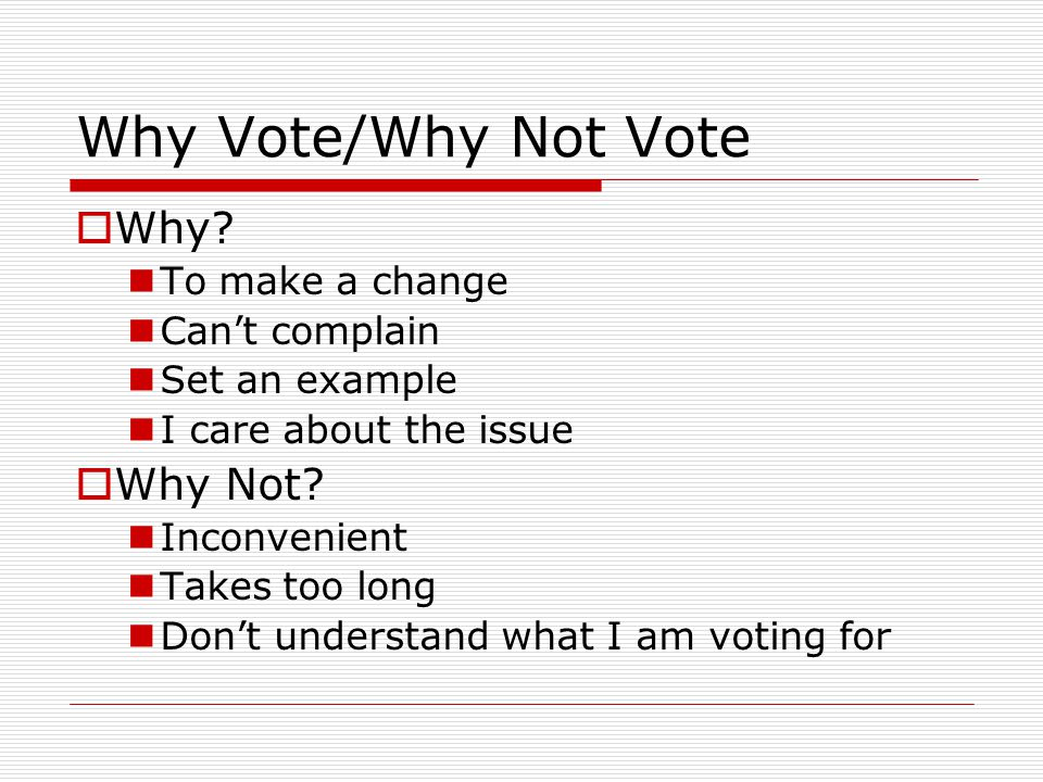 Why Vote/Why Not Vote  Why.