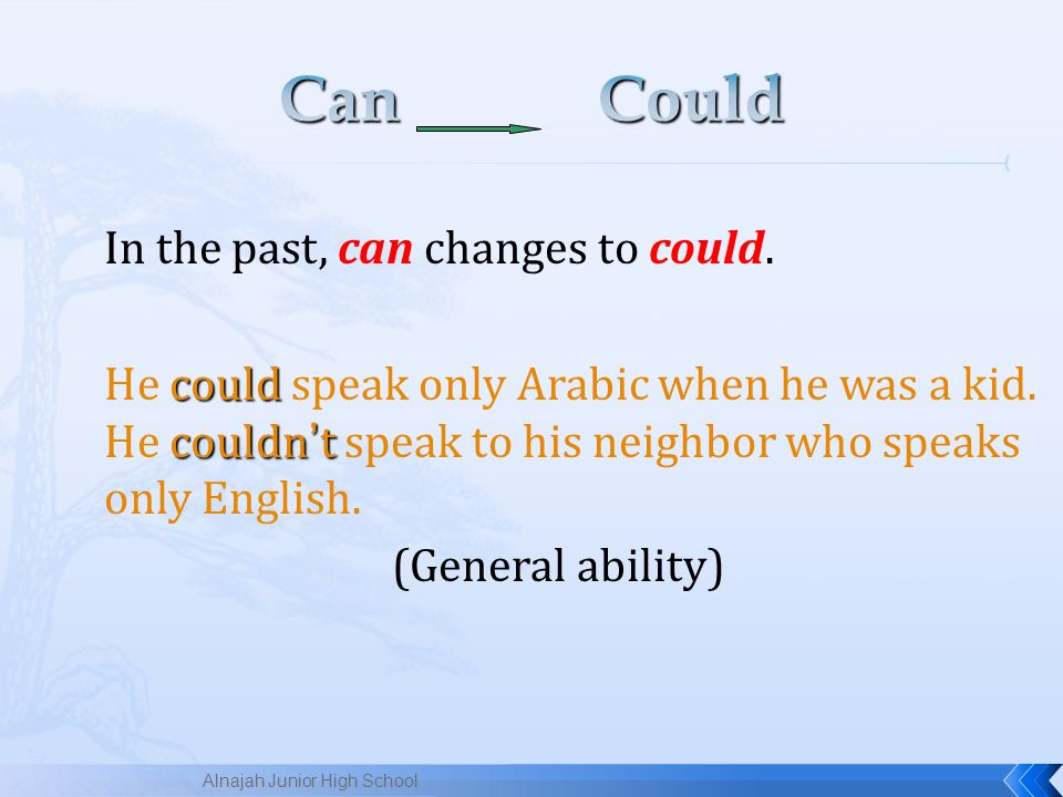 In the past, can changes to could.could couldn ' t He could speak only Arabic when he was a kid.