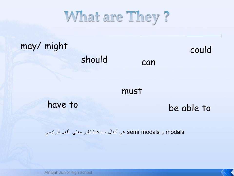can could may/ might must should have to be able to modals وsemi modals هي أفعال مساعدة تغير معنى الفعل الرئيسي Alnajah Junior High School