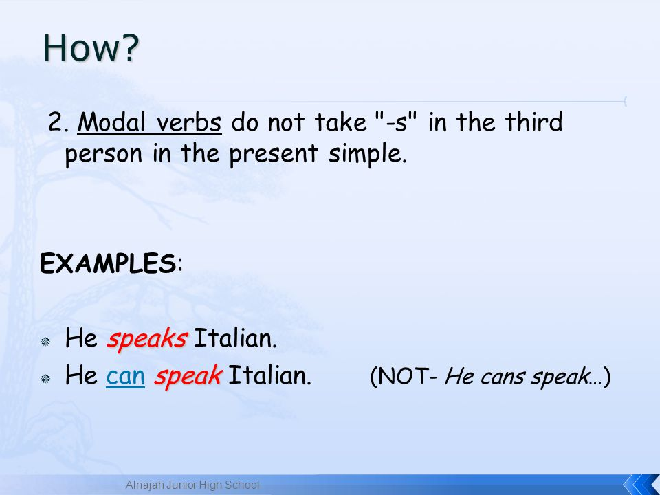 2.Modal verbs do not take -s in the third person in the present simple.