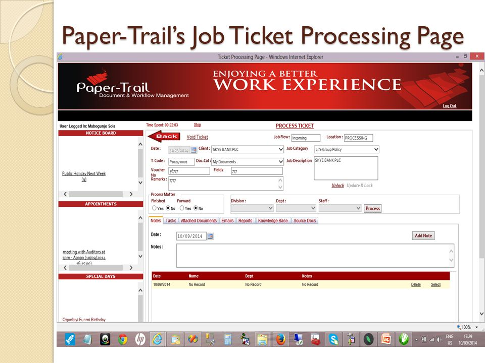 Paper-Trail's Job Ticket Processing Page