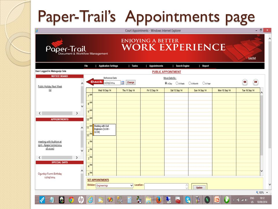 Paper-Trail's Appointments page