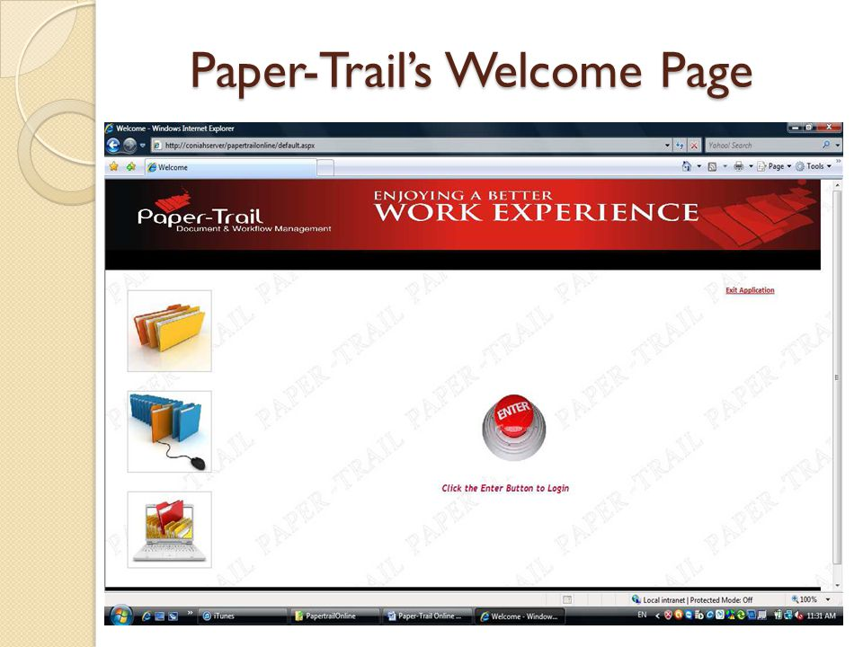 Paper-Trail's Welcome Page