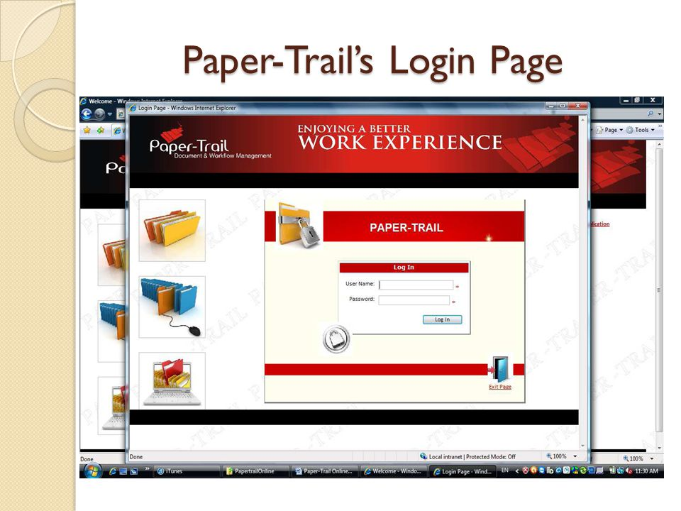 Paper-Trail's Login Page