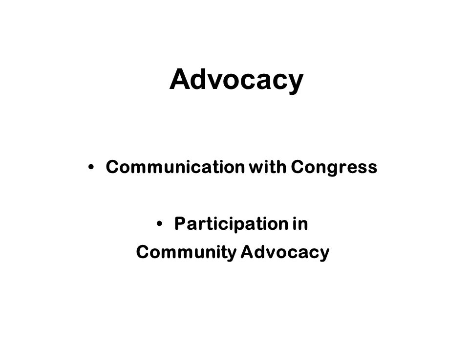 Advocacy Communication with Congress Participation in Community Advocacy