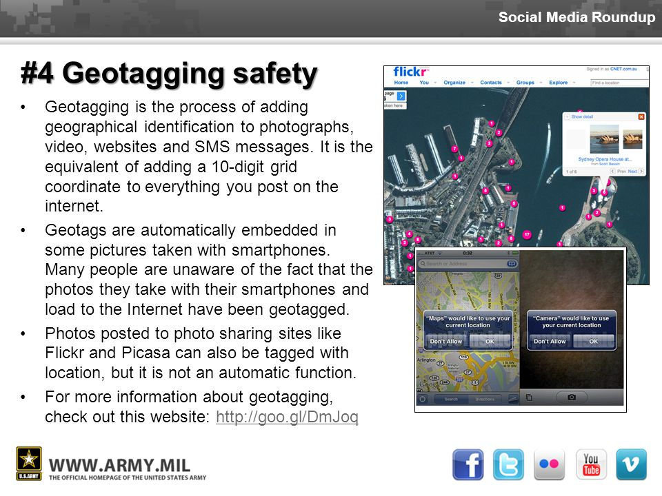 Social Media Roundup #4 Geotagging safety  Location-based social networking is quickly growing in popularity.