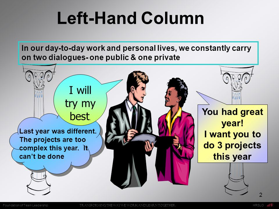 2 Left-Hand Column In our day-to-day work and personal lives, we constantly carry on two dialogues- one public & one private You had great year.