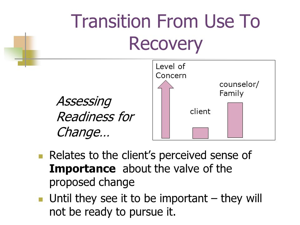 Transition From Use To Recovery Assessing Readiness for Change… Relates to the client's perceived sense of Importance about the valve of the proposed change Until they see it to be important – they will not be ready to pursue it.