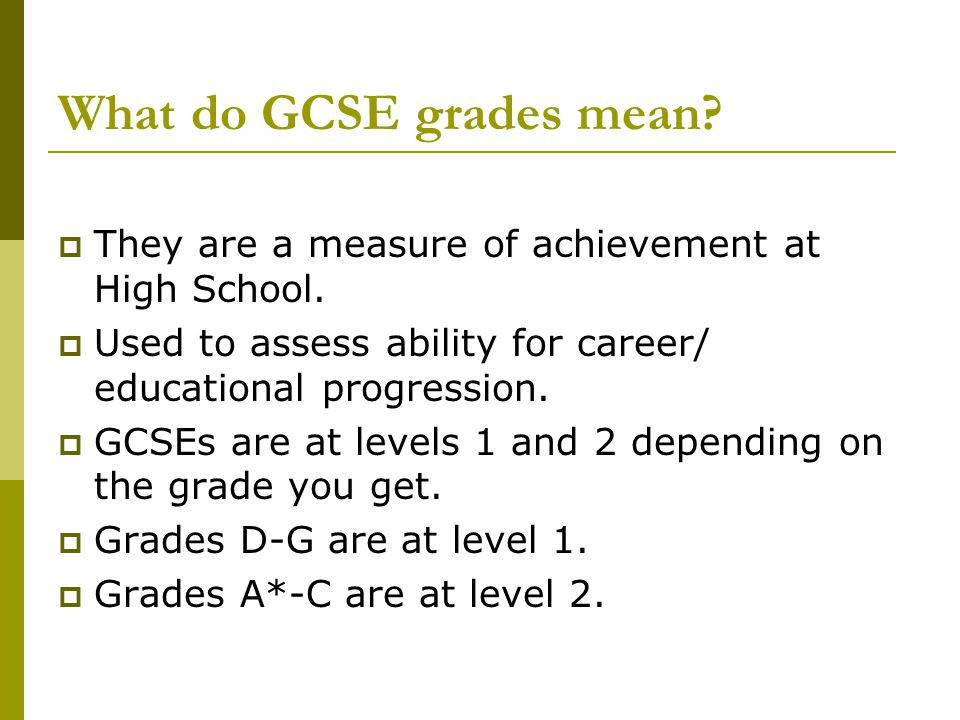 What do GCSE grades mean.  They are a measure of achievement at High School.