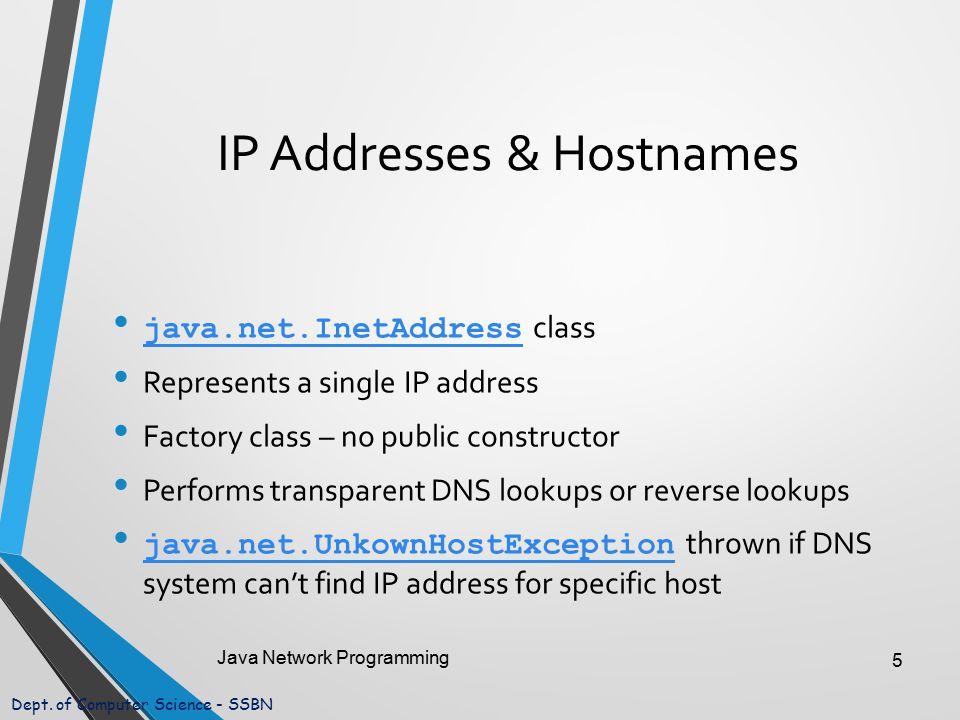 Dept. of Computer Science - SSBN IP Addresses & Hostnames java.net.InetAddress class java.net.InetAddress Represents a single IP address Factory class