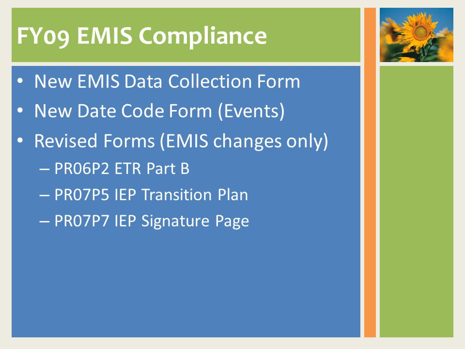 FY09 EMIS Compliance New EMIS Data Collection Form New Date Code Form (Events) Revised Forms (EMIS changes only) – PR06P2 ETR Part B – PR07P5 IEP Transition Plan – PR07P7 IEP Signature Page