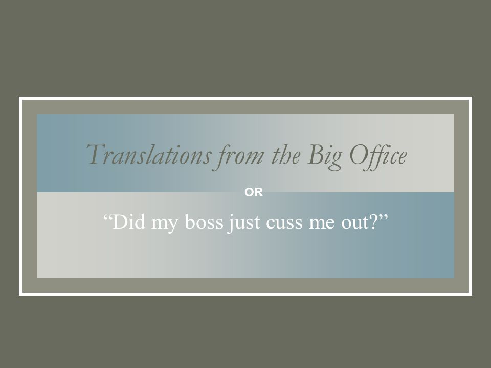 Translations from the Big Office Did my boss just cuss me out OR