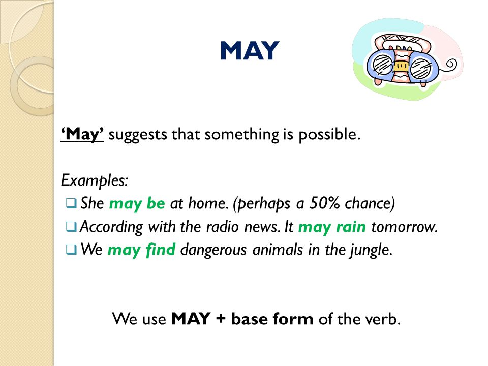 'May' suggests that something is possible.Examples:  She may be at home.