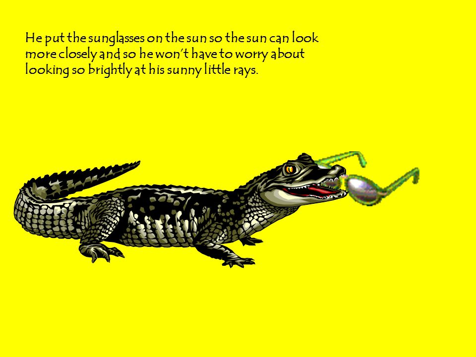 Alligator took the sunglasses and flew in a plane up to the sun.