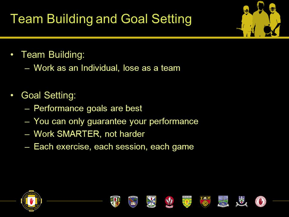 Team Building and Goal Setting Team Building: –Work as an Individual, lose as a team Goal Setting: –Performance goals are best –You can only guarantee your performance –Work SMARTER, not harder –Each exercise, each session, each game