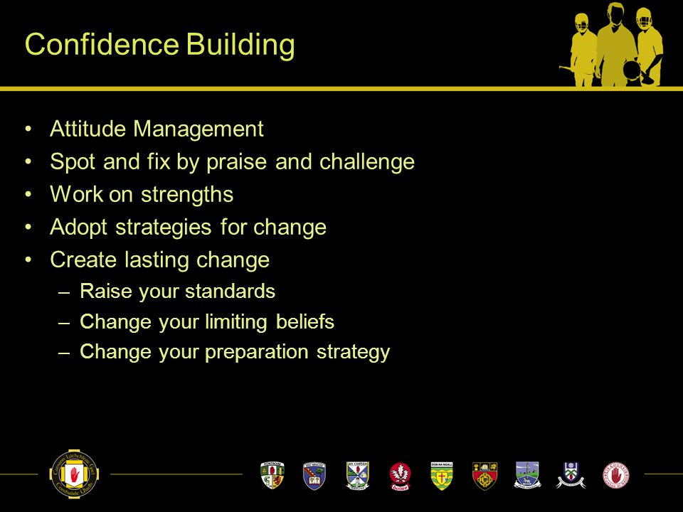 Confidence Building Attitude Management Spot and fix by praise and challenge Work on strengths Adopt strategies for change Create lasting change –Raise your standards –Change your limiting beliefs –Change your preparation strategy