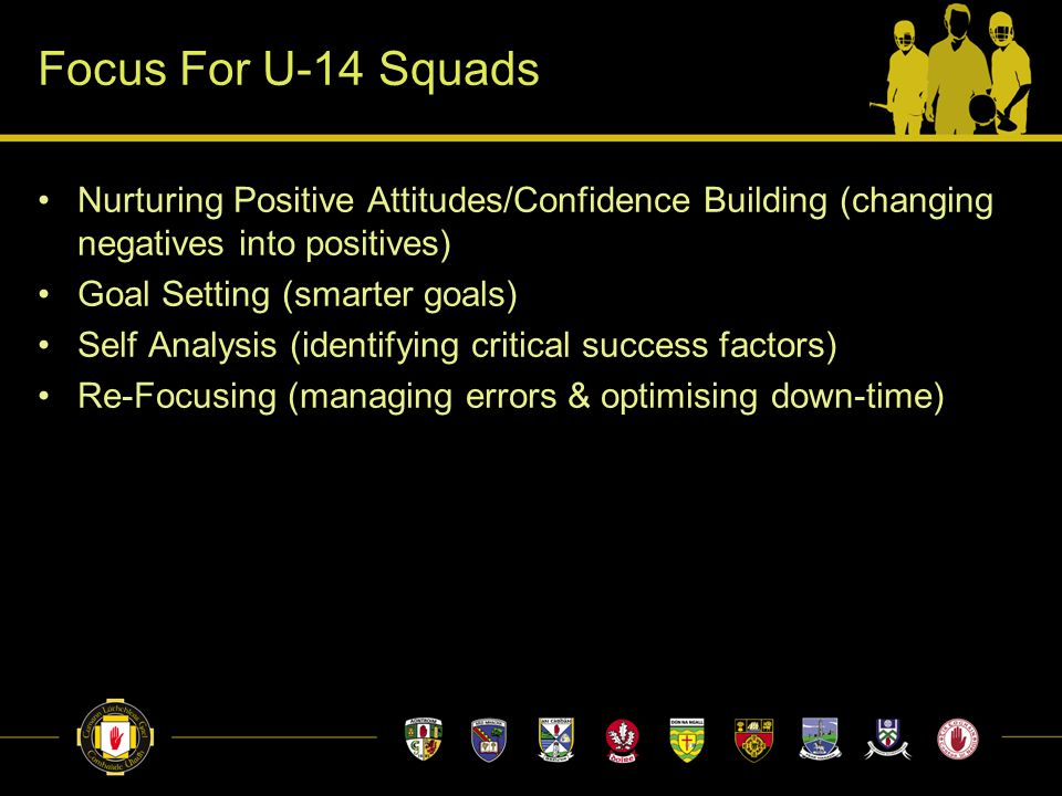Focus For U-14 Squads Nurturing Positive Attitudes/Confidence Building (changing negatives into positives) Goal Setting (smarter goals) Self Analysis (identifying critical success factors) Re-Focusing (managing errors & optimising down-time)
