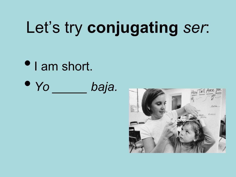 Let's try conjugating ser: I am short. Yo _____ baja.