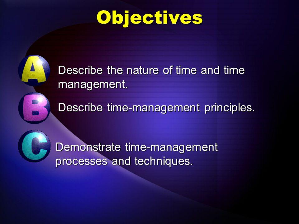 Describe time-management principles. Objective