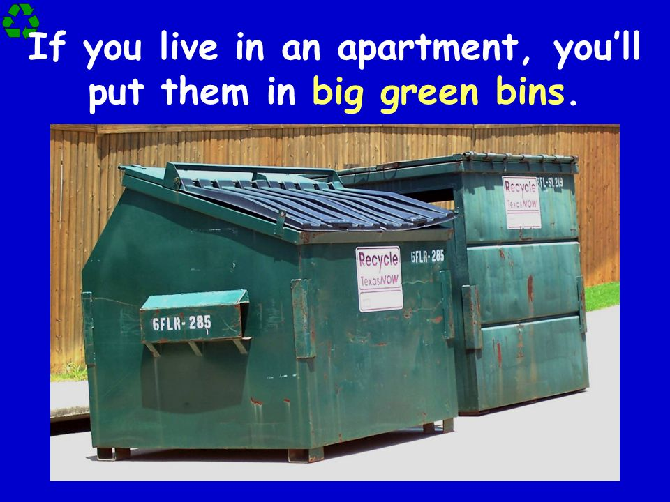 If you live in an apartment, you'll put them in big green bins.