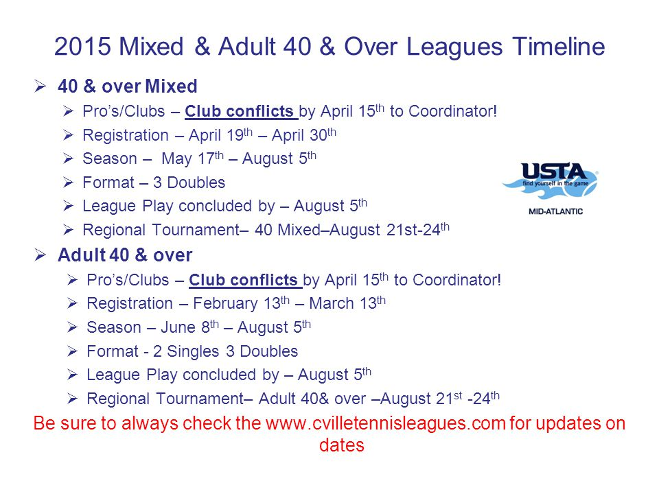 2015 Mixed & Adult 40 & Over Leagues Timeline  40 & over Mixed  Pro's/Clubs – Club conflicts by April 15 th to Coordinator.