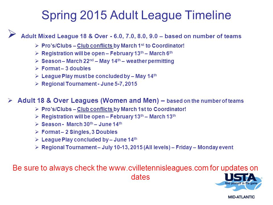 Spring 2015 Adult League Timeline  Adult Mixed League 18 & Over - 6.0, 7.0, 8.0, 9.0 – based on number of teams  Pro's/Clubs – Club conflicts by March 1 st to Coordinator.