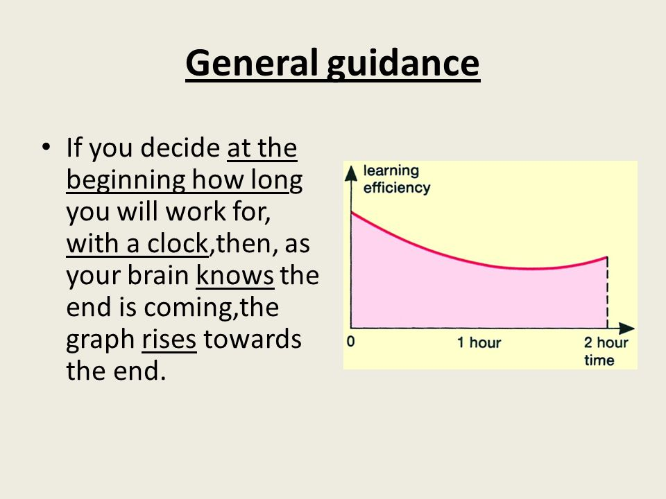 General guidance If you decide at the beginning how long you will work for, with a clock,then, as your brain knows the end is coming,the graph rises towards the end.