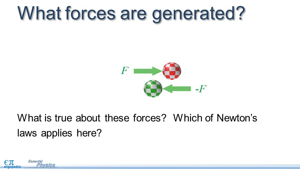 What forces are generated? What is true about these forces? Which of Newton's laws applies here?