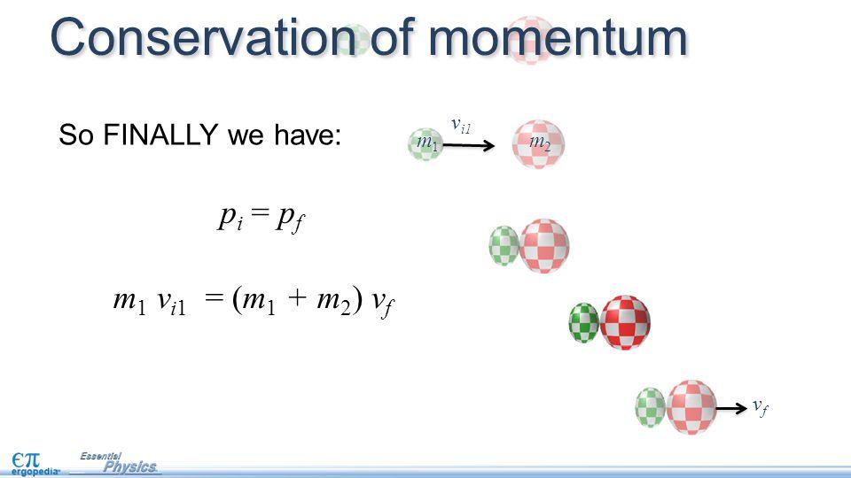 p i = p f So FINALLY we have: m 1 v i1 = (m 1 + m 2 ) v f vfvf Conservation of momentum v i1 m 1 m 2