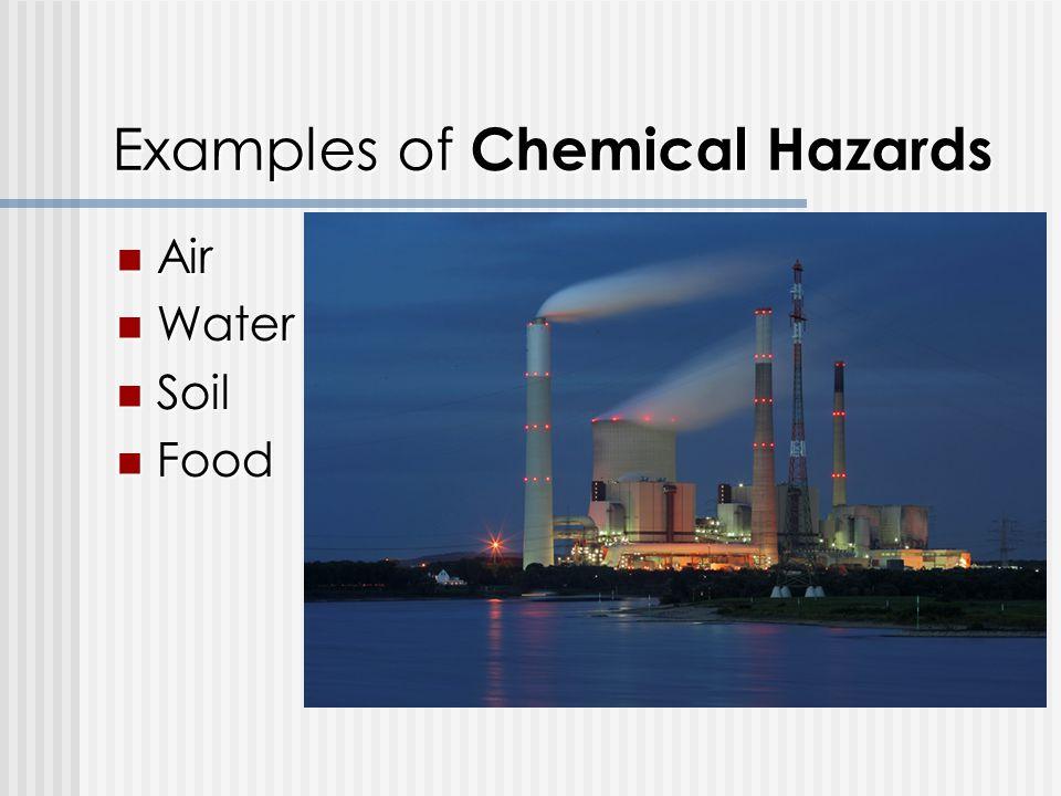 Examples of Chemical Hazards Air Air Water Water Soil Soil Food Food