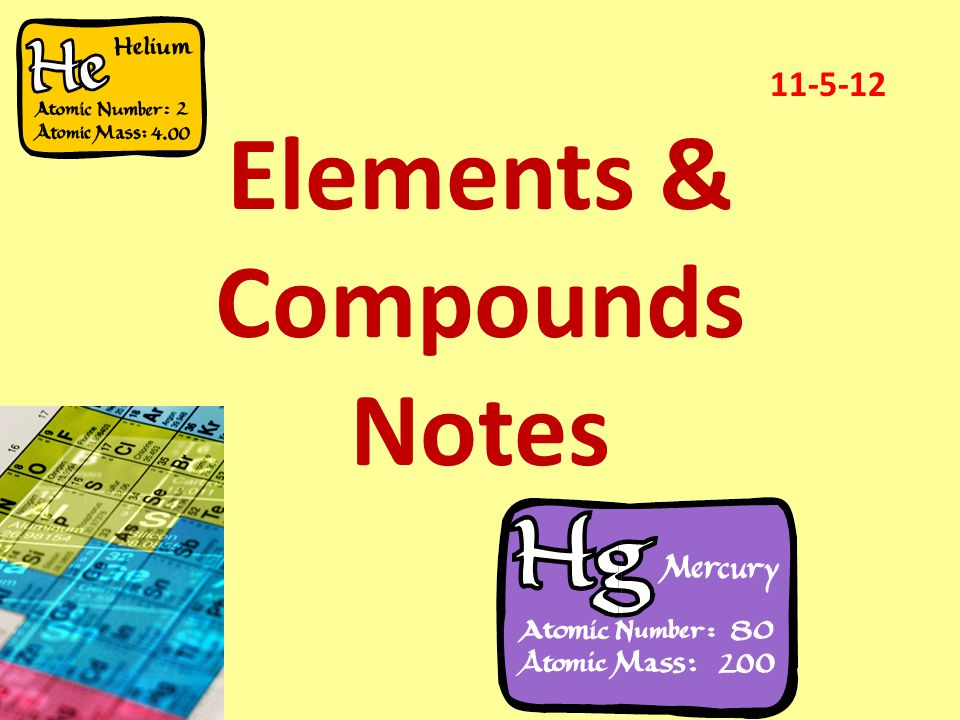 Elements & Compounds Notes 11-5-12